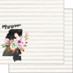 Scrapbook Customs - 12 x 12 Double Sided Paper - Mississippi Watercolor