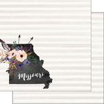 Scrapbook Customs - 12 x 12 Double Sided Paper - Missouri Watercolor