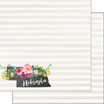 Scrapbook Customs - 12 x 12 Double Sided Paper - Nebraska Watercolor