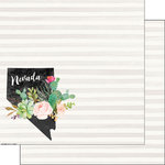 Scrapbook Customs - 12 x 12 Double Sided Paper - Nevada Watercolor