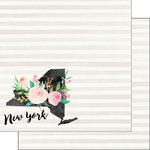 Scrapbook Customs - 12 x 12 Double Sided Paper - New York Watercolor
