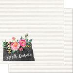 Scrapbook Customs - 12 x 12 Double Sided Paper - North Dakota Watercolor