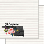 Scrapbook Customs - 12 x 12 Double Sided Paper - Oklahoma Watercolor