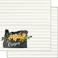 Scrapbook Customs - 12 x 12 Double Sided Paper - Oregon Watercolor