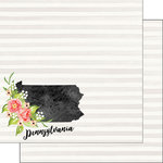 Scrapbook Customs - 12 x 12 Double Sided Paper - Pennsylvania Watercolor