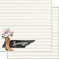 Scrapbook Customs - 12 x 12 Double Sided Paper - Tennessee Watercolor