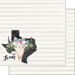 Scrapbook Customs - 12 x 12 Double Sided Paper - Texas Watercolor