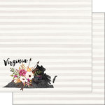 Scrapbook Customs - 12 x 12 Double Sided Paper - Virginia Watercolor