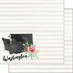Scrapbook Customs - 12 x 12 Double Sided Paper - Washington Watercolor