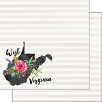 Scrapbook Customs - 12 x 12 Double Sided Paper - West Virginia Watercolor