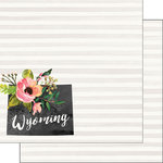 Scrapbook Customs - 12 x 12 Double Sided Paper - Wyoming Watercolor
