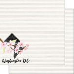 Scrapbook Customs - 12 x 12 Double Sided Paper - Washington DC Watercolor