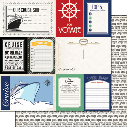 Scrapbook Customs - Cruise Collection - 12 x 12 Double Sided Paper - Journal