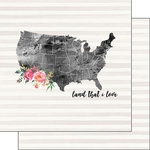 Scrapbook Customs - 12 x 12 Double Sided Paper - Land That I Love Watercolor