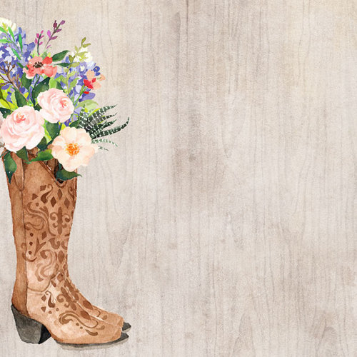 Scrapbook Customs - 12 x 12 Paper - Cowboy Flower Boot Watercolor