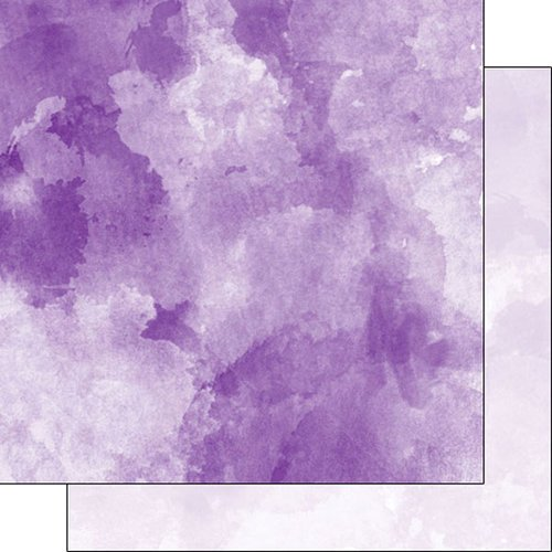 Scrapbook Customs - 12 x 12 Double Sided Paper - Dark Purple and Light Purple Watercolor
