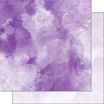 Scrapbook Customs - 12 x 12 Double Sided Paper - Dark Purple and Light Purple Watercolor