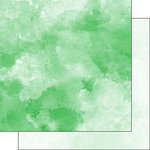 Scrapbook Customs - 12 x 12 Double Sided Paper - Green and Light Green Watercolor