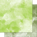 Scrapbook Customs - 12 x 12 Double Sided Paper - Lime Green and Sage Green Watercolor
