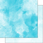 Scrapbook Customs - 12 x 12 Double Sided Paper - Blue Bright and Light Blue Watercolor