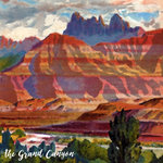 Scrapbook Customs - 12 x 12 Paper - Grand Canyon - Left Watercolor