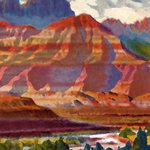 Scrapbook Customs - 12 x 12 Paper - Grand Canyon - Right Watercolor