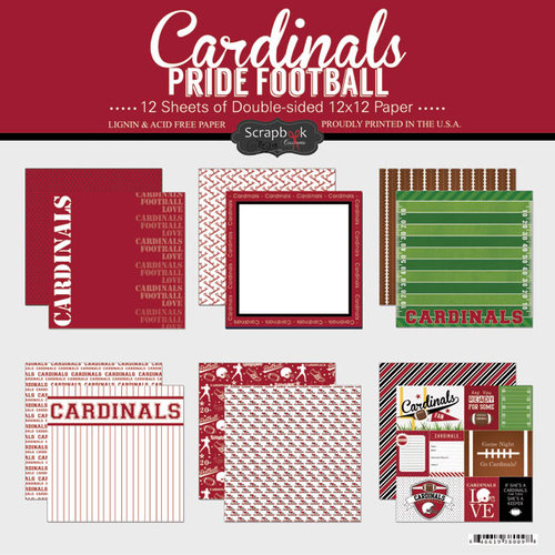 Scrapbook Customs - Football Collection - 12 x 12 Collection Kit - Cardinals Pride