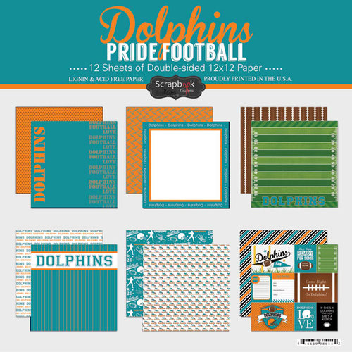 Scrapbook Customs - Football Collection - 12 x 12 Collection Kit - Dolphins Pride