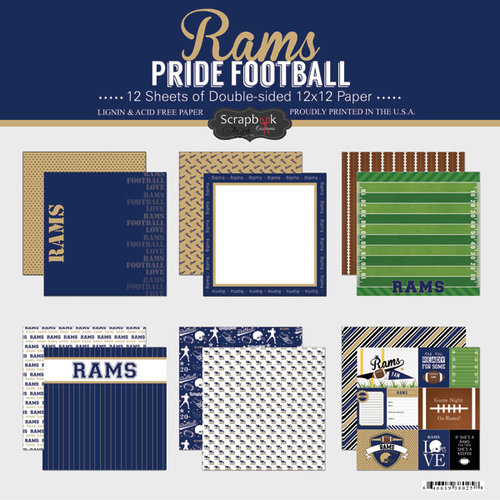 Scrapbook Customs - Football Collection - 12 x 12 Collection Kit - Rams Pride