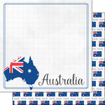 Scrapbook Customs - Adventure Collection - 12 x 12 Double Sided Paper - Australia Border