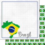Scrapbook Customs - Adventure Collection - 12 x 12 Double Sided Paper - Brazil Border