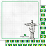 Scrapbook Customs - Adventure Collection - 12 x 12 Double Sided Paper - Rio de Janeiro Christ the Redeemer