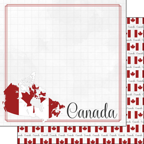 Scrapbook Customs - Adventure Collection - 12 x 12 Double Sided Paper - Canada Border