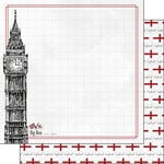 Scrapbook Customs - Adventure Collection - 12 x 12 Double Sided Paper - London Big Ben