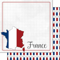 Scrapbook Customs - Adventure Collection - 12 x 12 Double Sided Paper - France Border