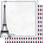 Scrapbook Customs - Adventure Collection - 12 x 12 Double Sided Paper - Paris Eiffel Tower