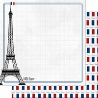 Scrapbook Customs - Adventure Collection - 12 x 12 Double Sided Paper - Paris Eiffel Tower
