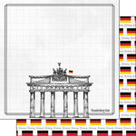 Scrapbook Customs - Adventure Collection - 12 x 12 Double Sided Paper - Berlin Brandenburg Gate
