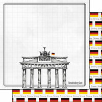 Scrapbook Customs - Adventure Collection - 12 x 12 Double Sided Paper - Berlin Brandenburg Gate