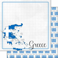 Scrapbook Customs - Adventure Collection - 12 x 12 Double Sided Paper - Greece Border