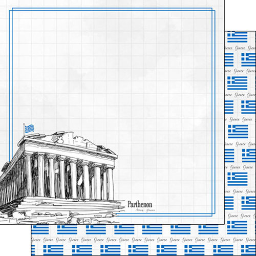Scrapbook Customs - Adventure Collection - 12 x 12 Double Sided Paper - Athens Parthenon