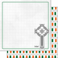Scrapbook Customs - Adventure Collection - 12 x 12 Double Sided Paper - Ireland Celtic Cross