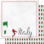 Scrapbook Customs - Adventure Collection - 12 x 12 Double Sided Paper - Italy Border