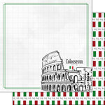 Scrapbook Customs - Adventure Collection - 12 x 12 Double Sided Paper - Rome Colosseum