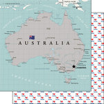 Scrapbook Customs - Adventure Collection - 12 x 12 Double Sided Paper - Australia Map