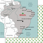 Scrapbook Customs - Adventure Collection - 12 x 12 Double Sided Paper - Brazil Map