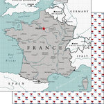 Scrapbook Customs - Adventure Collection - 12 x 12 Double Sided Paper - France Map