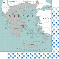 Scrapbook Customs - Adventure Collection - 12 x 12 Double Sided Paper - Greece Map