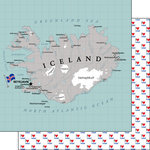 Scrapbook Customs - Adventure Collection - 12 x 12 Double Sided Paper - Iceland Map