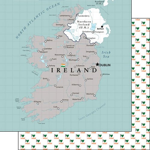 Scrapbook Customs - Adventure Collection - 12 x 12 Double Sided Paper - Ireland Map